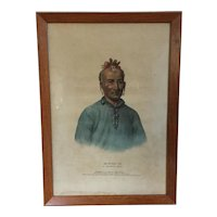 Large Folio 19th c. McKenney & Hall Hand Colored Print of Kish - Kal - Wa A Shawanoe Chief 1837 from Indian Tribes of North America