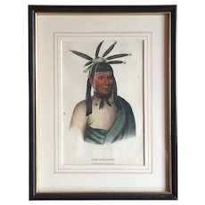 Antique 19th c. McKenney & Hall Hand Colored Native American Print of Amiskquew - A Menominie Warrior 1855 - Indian Tribes of North America