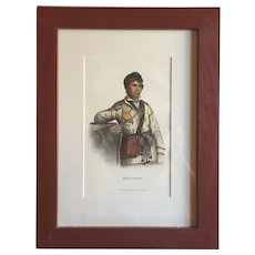 Antique 19th c. McKenney & Hall Hand Colored Native American Print of Mistippee - 1855 Indian Tribes of North America