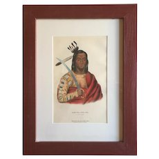 Antique 19th c. McKenney & Hall Hand Colored Native American Print of Mon - Ka - Ush - Ka - A Sioux Chief - 1855 Indian Tribes of North America
