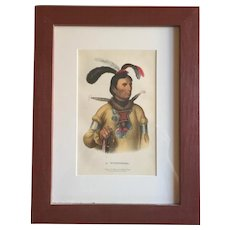 Antique 19th c. McKenney & Hall Hand Colored Native American Print of A Winnebago - 1855 Indian Tribes of North America
