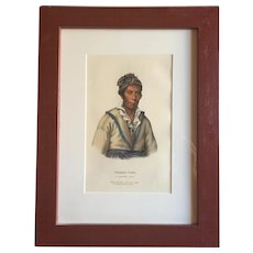 Antique 19th c. McKenney & Hall Hand Colored Native American Print of Tooan - Tuh - A Cherokee Chief - 1855 Indian Tribes of North America