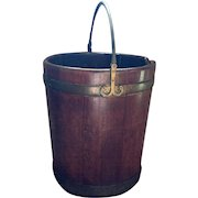 Antique 18th century English George III Period Mahogany Plate Bucket 1790 with Brass Banding & Bail Handle