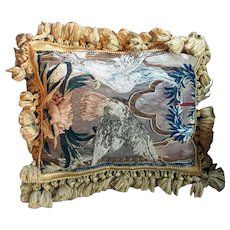 Antique 18th century French Aubusson Verdure Tapestry Pillow with Gold Fringe & Velvet Back