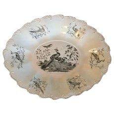 Antique 18th century English George III Wedgwood Liverpool Exotic Bird Creamware Platter 1760 - 1790