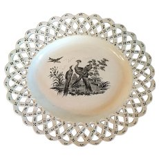 Antique 18th century English George III Wedgwood Liverpool Exotic Bird Creamware Platter with Basketweave Border 1760 - 1790