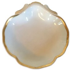Antique Early 19th century French Empire Old Paris Porcelain Shell Shape Dish - White & Gold 1810