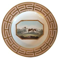 Large Antique Early 19th century English Georgian Derby Porcelain Plate Decorated with a Hand Painted Hunting Dog Coursing in Landscape c. 1800 - 1820