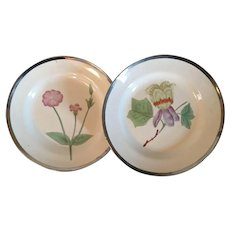 Pair Antique Early 19th century English George III Creamware Pearlware Botanical Plates Decorated with Hand Painted Specimens & Silver Luster Borders 1810