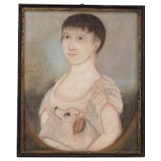 Antique Early 19th century American Federal Pastel Painting Portrait of a Young Girl with Her Dog 1800 - 1810