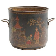 Antique French Louis XV Tole Peinte Cache Pot Planter Jardiniere or Wine Bottle Cooler 19th Century Decorated with Chinoiserie Scenes & Removable Copper Liner