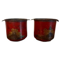 Pair Antique French Louis XV Tole Peinte Cache Pot Planter Jardinieres or Wine Bottle Coolers 18th Century Decorated with Chinoiserie Scenes on Scarlet Red Ground