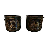 Pair Antique French Louis XV Tole Peinte Cache Pot Planter Jardinieres or Wine Bottle Coolers 18th Century Decorated with Chinoiserie Landscape Scenes