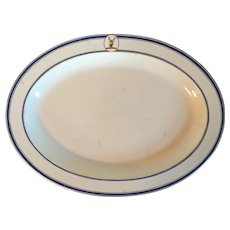 Large Antique Early 19th century English Regency Wedgwood Pearlware Creamware Oval Platter with Armorial Deer Stag Crest 1810