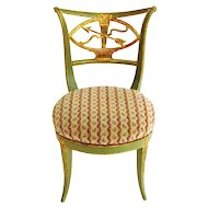 Antique 18th century Italian Directoire Green Paint & Gilt Decorated Sabre Leg Side Chair with Neoclassical Arrow, Bow & Quiver Back Splat & Upholstered Seat