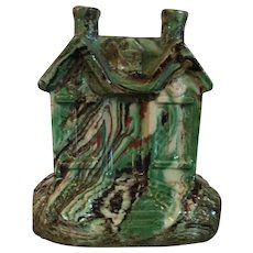 Antique 19th century English Regency Staffordshire Scroddle Ware Agate Glaze House Cottage Form Still Bank in the Whieldon Manner
