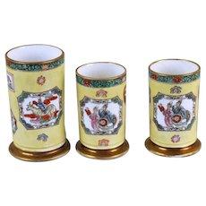 Garniture of Three Antique Early 19th century English Regency Mason's Ironstone Porcelain Spill Vases in the Chinese Imari Taste 1820