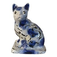 Antique 18th century Staffordshire Pottery Salt Glaze Stoneware Agate Model of a Cat 1740