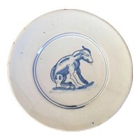 Antique 18th century Delft Blue & White Tin Glaze Faience Plate Decorated with a Stylized Dog