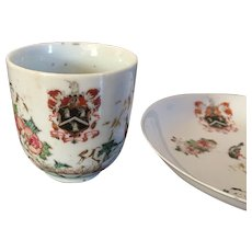 Antique 18th century Chinese Export Porcelain Armorial Crest Tea Cup & Saucer in Famille Rose Palette with Birds and Flowers