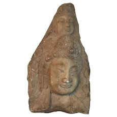 Antique Carved Stone Fragment Statue Plaque of a Double Buddha Head Bust