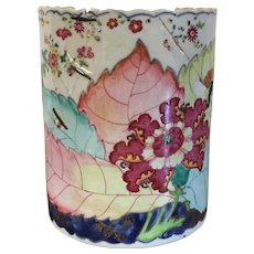 Very Large Antique 18th century Chinese Export Porcelain Tankard Mug with Tobacco Leaf Decoration in Famille Rose Palette