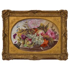 Large Antique Early 19th century English Regency Derby Porcelain Botanical Wall Plaque with Hand Painted Fruit & Flowers in Gilt Wood Frame