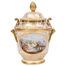 Antique Early 19th century English Coalport Porcelain Vase Shape Fruit Cooler Decorated with Landscape and Floral Reserves with Gilt Greek Key Border