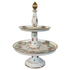 Antique Early 19th century French Empire Old Paris Porcelain Two Tier Dessert Tazza Centerpiece with Floral Sprig