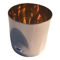 Tiffany & Company 925 Sterling Silver Water Cup Vase with Vermeil Interior Thumbprint by Elsa Peretti 1984 Italy