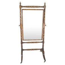 Antique Early 19th century English Regency Turned and Carved Mahogany Cheval Dressing Mirror