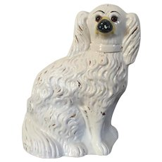 Large Antique 19th century English Victorian Staffordshire Pearlware Spaniel Dog with Glass Eyes
