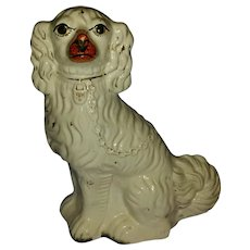 Large Antique 19th century English Victorian Staffordshire Pearlware Pottery King Charles Spaniel Dog