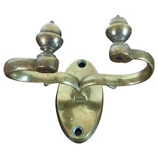 Antique 19th century American Federal Acorn Form Brass Jamb Hook for Holding Fireplace Hearth Tools Mounts on the Mantel