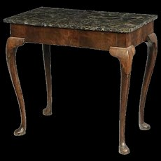 Antique 18th century Queen Anne Carved Walnut Marble Slab Table