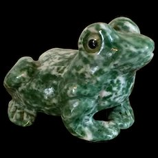 Chinese Carved Green Hard Stone Figure of a Frog