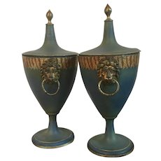 Pair Antique 19th century English Regency Paint Decorated Pontypool Pewter Chestnut Vase Urns with Lion Mask Ring Handles