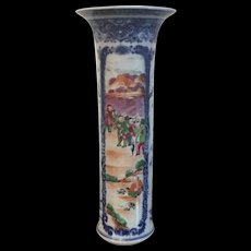 Antique 18th century Chinese Export Porcelain Trumpet Vase Decorated with Famille Rose Panels of Figures in Landsape within Blue & White Border