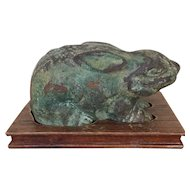 Antique 19th century Chinese Verdigris Bronze Figure of a Rabbit or Hare on Carved Wood Stand