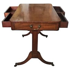 Antique Early 19th century English George III Line Inlaid Mahogany Writing Table Desk 1800
