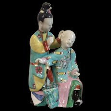 Antique 18th century Qianlong Period Chinese Export Famille Rose Porcelain Court Figural Group of a Mother & Son