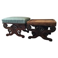 Pair Antique 19th century American Empire Classical Boston Carved Mahogany Bench Stools