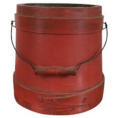 Antique 19th century American Shaker Paint Decorated Red Wooden Firkin Sugar Pail with Bail Handle