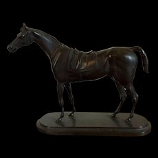Antique 19th century French Bronze of the Thoroughbred Race Horse Gladiateur Wearing a Blanket and Saddle
