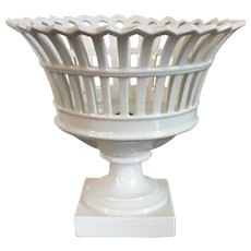 Antique 19th century French Empire Old Paris Porcelain Reticulated Basket Compote White Corbeille