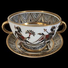 Antique Early 19th century Italian Naples Giustiniani Porcelain Snake Handled Cup & Saucer with Egyptian Revival Decoration