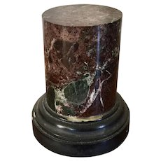 Antique 19th century Grand Tour Rouge Specimen Marble Display Column Pedestal with Slate Base