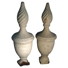 Pair Antique Early 19th century Formal American Federal Urn & Flame Form Garden Gate Post Finials