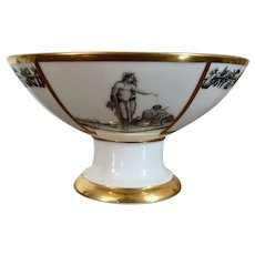 Antique French Empire Early 19th century Old Paris Porcelain Neoclassical Compote Centerpiece Stone, Coquerel & Le Gros 1810