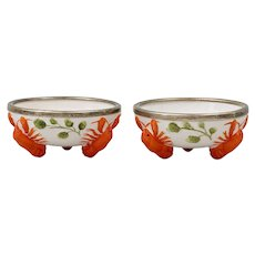 Pair Vintage German Porcelain Lobster Salt Cellar Bowl Dishes with Silver Plate Rim Art Deco